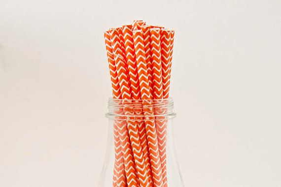 Orange Chevron Paper Straws W/ Printable Flags