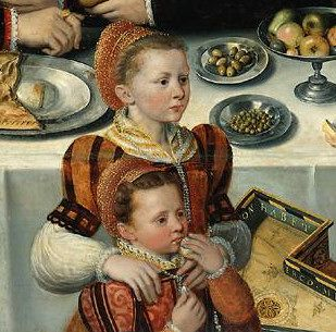 """Unknown artist, """"Portrait of the De Moucheron family,"""" detail, 1563; Rijksmuseum Amsterdam."""