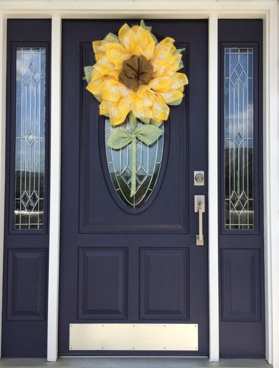 Paper Mesh Sunflower, Deco Mesh Sunflower, Sunflower Wreath, Paper Mesh Wreath, Deco Mesh Wreath, Mother's Day Wreath, Spring/Summer Wreath