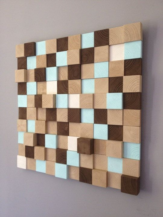 Modern Wall Art - Reclaimed Wood Wall Sculpture - Abstract Painting on Wood