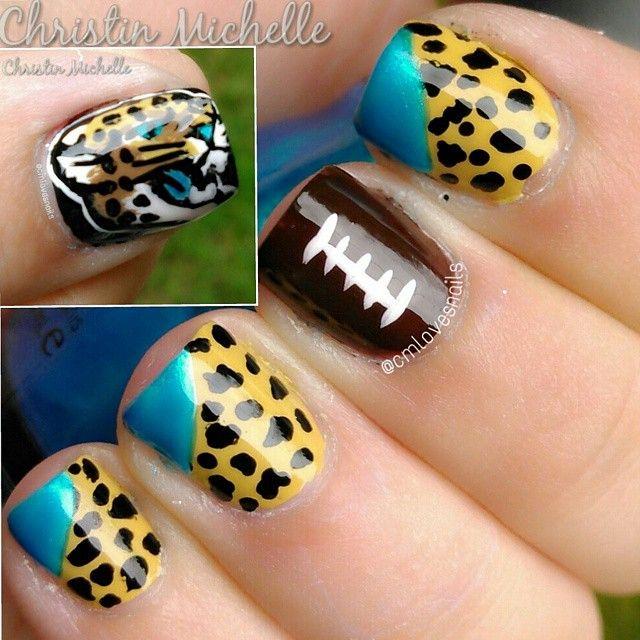 Jacksonville Jaguars Nails by cmlovesnails (I'm a TRUE KC Chiefs fan BUT cute is cute)