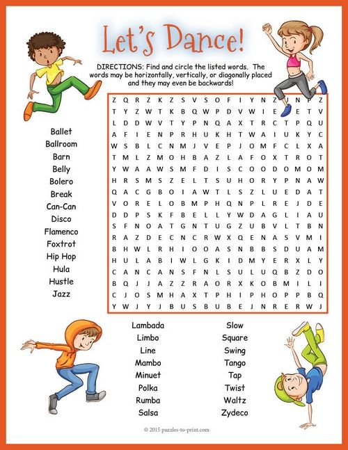 This fun word search puzzle features the names of 30 different styles of dance. Word search puzzles are an excellent way to reinforce vocabulary and improve spelling. Kids are having fun and learning at the same time.
