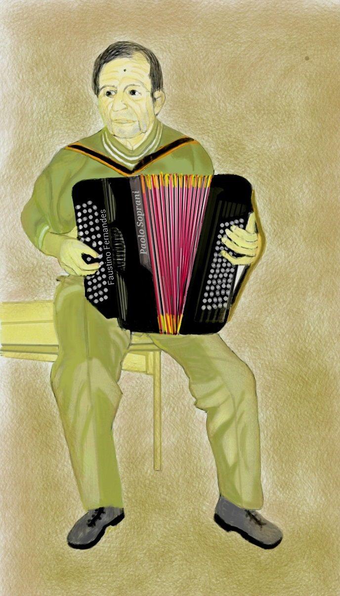 Accordionist. Art digital.