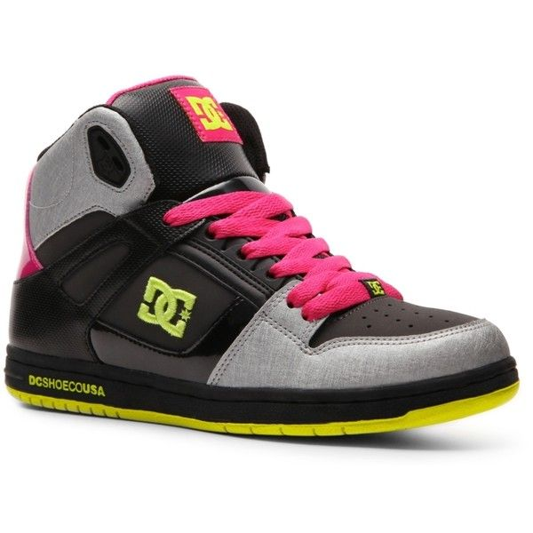 DC Shoes Rebound High-Top Skate Sneaker - Womens (£32) ❤ liked on Polyvore featuring shoes, sneakers, styles under $40, high top trainers, hi tops, dc shoes high tops, dc shoes and high-top sneakers