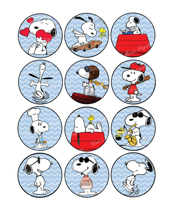 Snoopy Blue Cupcake Toppers with Bonus by CatsMeowDDesigns on Etsy