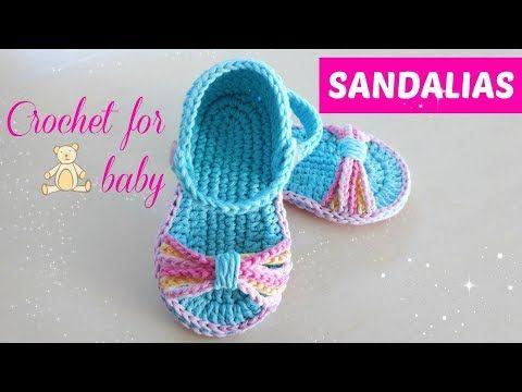 zapatitos tejidos a crochet -bebe-modelo yara- - YouTube