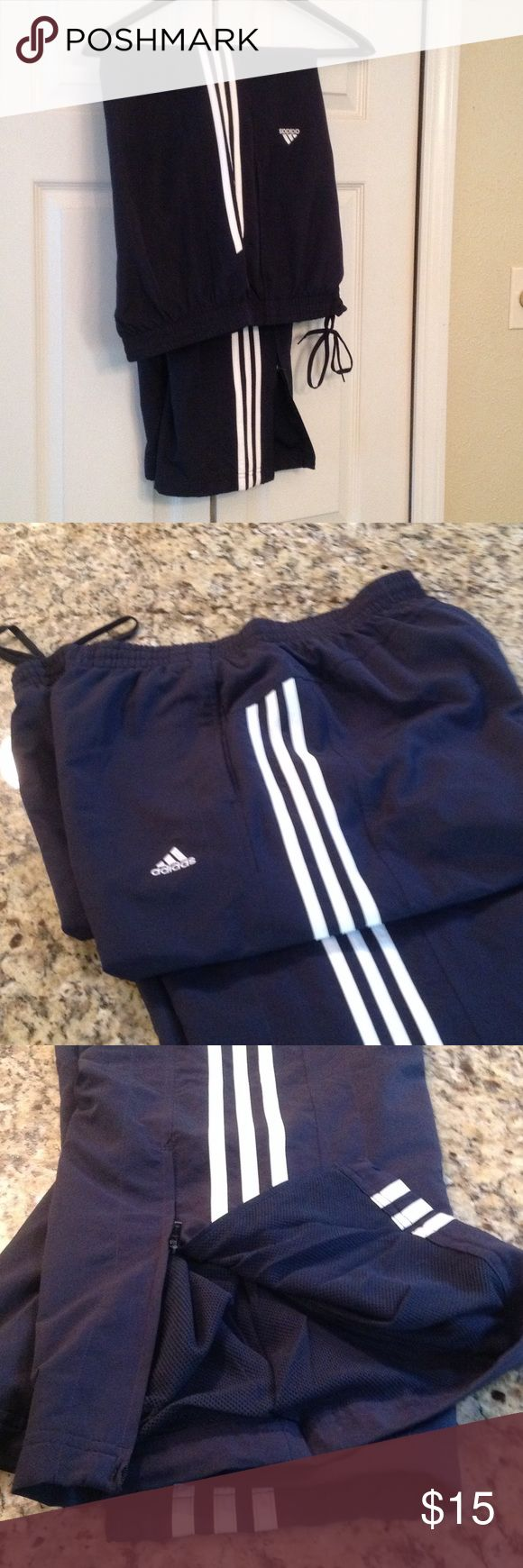 ADIDAS men's athletic pants Navy blue, draw string, ankle zipper and side pocket with mesh lining. adidas Pants Sweatpants & Joggers