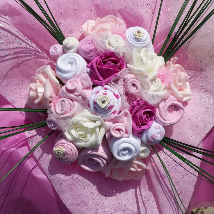Baby Bouquet made with clothing £44.99 delivered to the UK