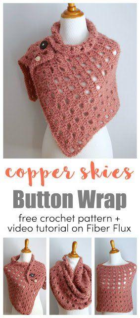 Livre Crochet Pattern ... Copper Skies Button Wrap!