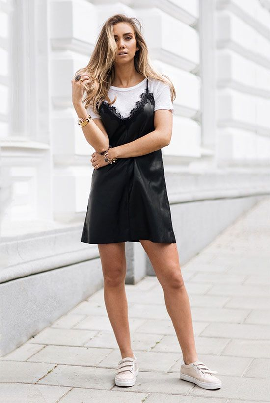 Summer Outfits - The Top Blogger Looks Of The Week: Fashion blogger 'Lisa Olsson' wearing a black slip dress, a white crew neck t-shirt and beige sneakers. Summer outfit, summer layers, summer trends 2016, casual outfit, edgy outfit, sneakers outfit, athleisure, street style.