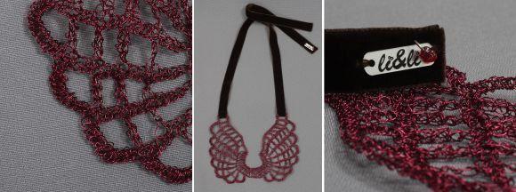 Κ-100.002-Wire crochet necklace with enameled copper, tied with brown velvet ribbon by LiandLiCrochet on Etsy
