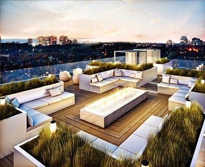 White Sofa Sets and Wooden Tile Floors in Rooftop Terrace Design Ideas