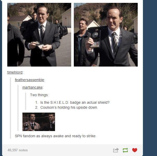 Upside-Down FBI Badges      Supernatural Has a GIF for Everything     Supernatural + Avengers