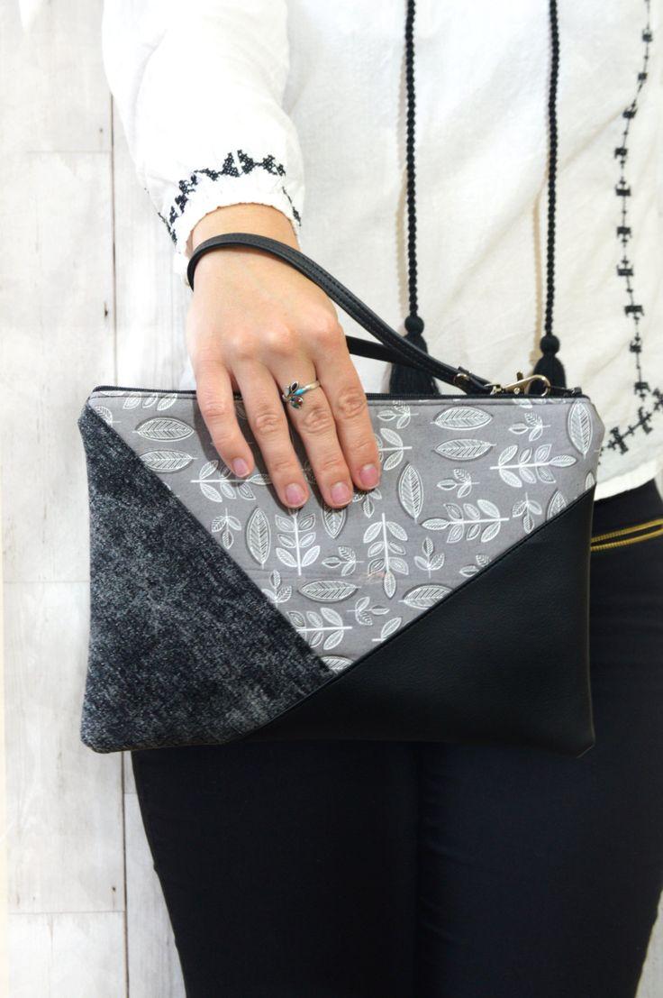 Grey clutch bag, Vegan clutch with leaves print, Fabric clutch bag, Geometric clutch evening purse, Simple clutch handmade wristlet clutch by Melifluo on Etsy