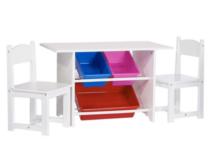 Kids Activity Table And Chair Set 3-Piece White Wood Toddler Play Desk Child New #RiverRidgeKids