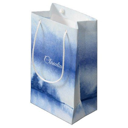 Custom Name | Blue Winter Forest Paper Gift Bags - winter wedding diy marriage customize personalize couple idea individuel