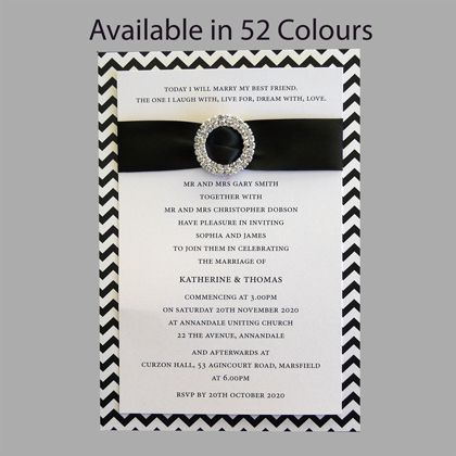 Layered Wedding Invitation With Chevron Pattern And Round Diamante Buckle. The chevron pattern is available in 52 colours. www.kardella.com