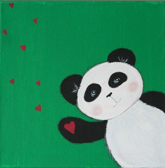 Original Panda Bear Painting on 12 x 12 inch Canvas ...