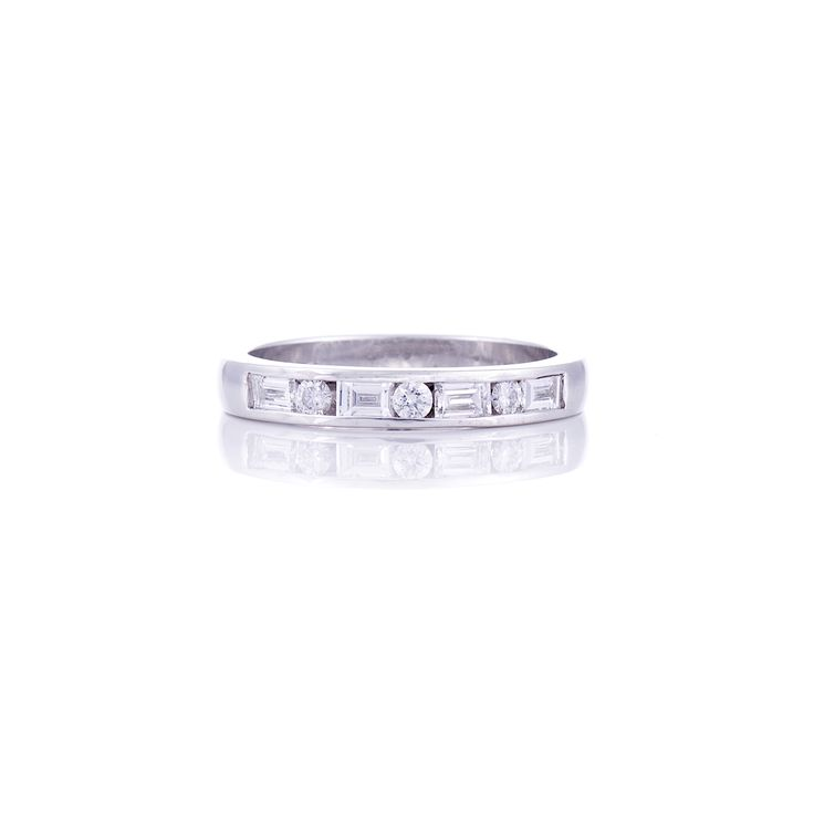 Baguette and Round Diamond Channel set Wedding band