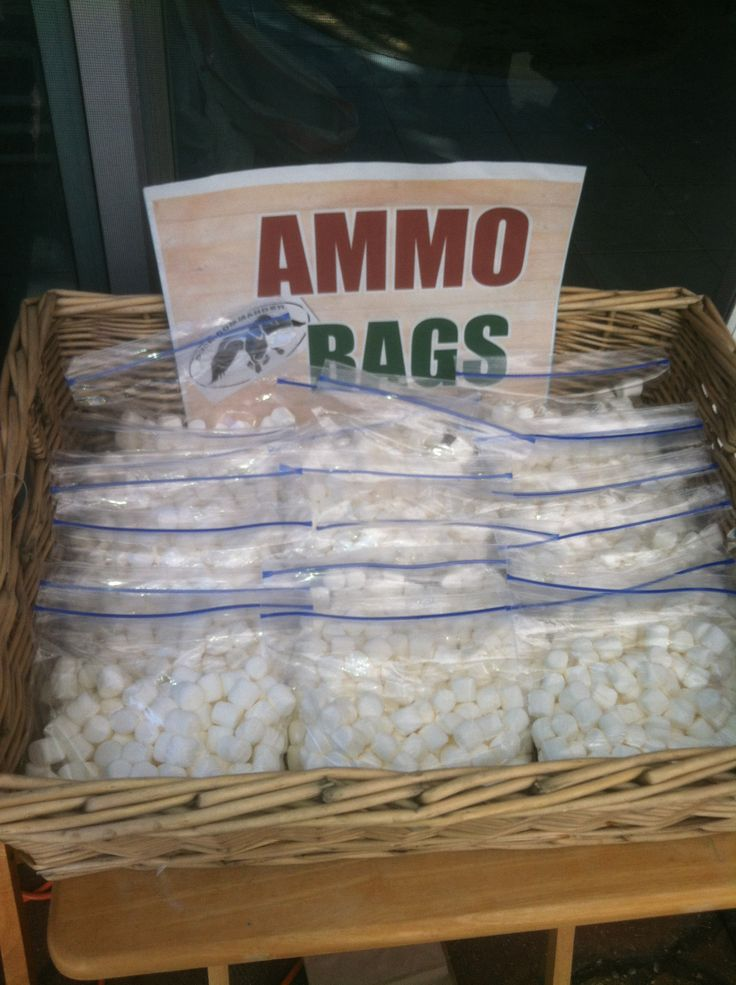 """Duck dynasty party. """"Ammo"""" bags filled with mini marshmallows."""