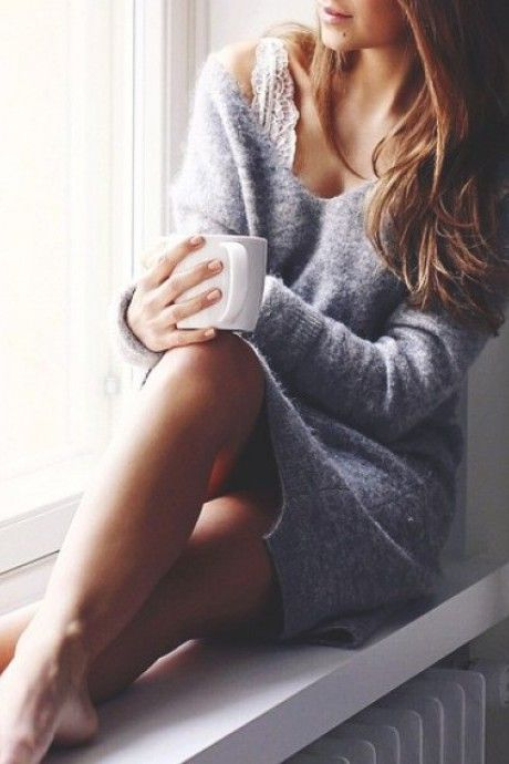 oversized deep V neck knit in grey ~