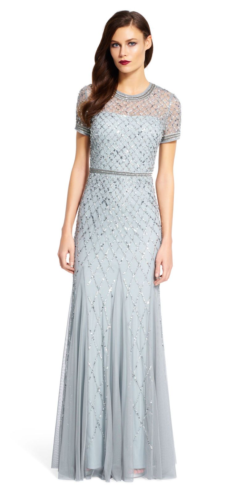 Papell cap sleeve beaded sequined gown dresses women macy s - Adrianna Papell Cap Sleeve Beaded Gown