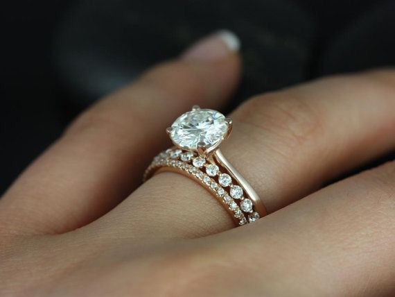 Gold engagement ring and wedding band. ✨   mysweetengagement.com