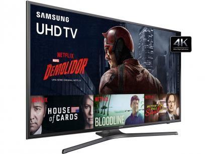 """Smart TV LED 40"""" Samsung 4K/Ultra HD 40KU6000 - Conversor Digital Wi-Fi HDMI USB com as melhores condições você encontra no Magazine Rioleal. Confira!"""