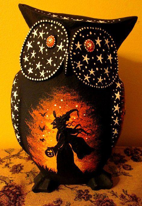 ORIGINAL HALLOWEEN FOLK ART PAINTING RYTA OWL WITCH BLACK CAT FIGURINE MOON BATS #Halloween