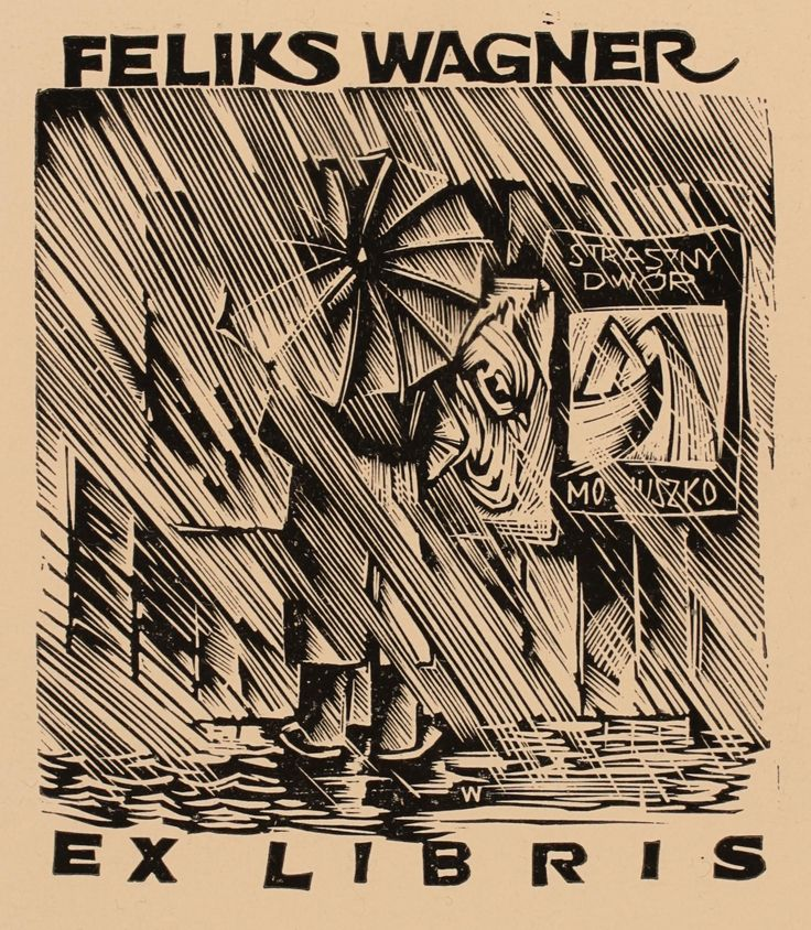 Ex libris by Wojciech Luczak from Poland for Feliks Wagner (Poland, 1907-1992) ~ Feliks Wagner was a Polish promoter of culture, collector (especially bookplates ) and organizer of art exhibitions.