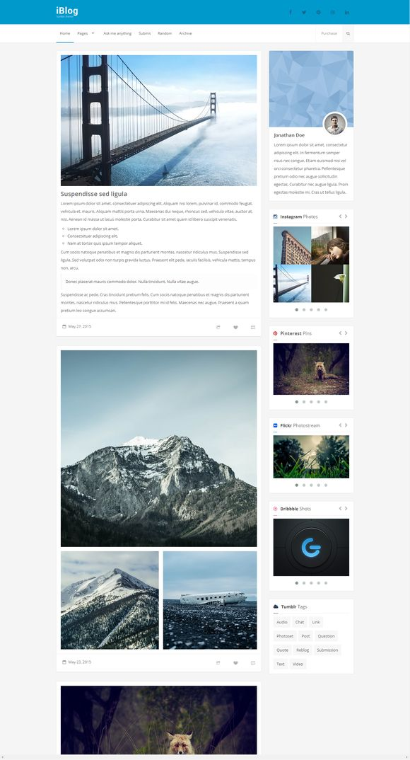 iBlog - Responsive Tumblr Theme by Festus911 on Creative Market