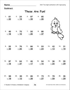 These Are Fun (Two-Digit Subtraction With Regrouping): 2nd ...