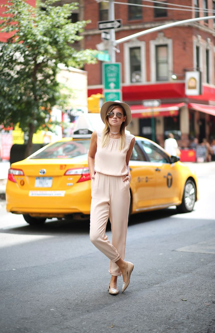We Wore What | Zara, Studio Jumpsuit; Tabitha Simmons, Loafers; ASOS, Hat