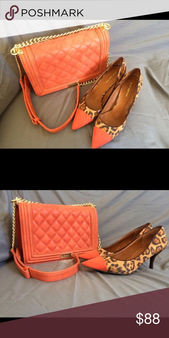 BCBG BURNT ORANGE SHOULDER BAG Like new wore once using as a closet show piece. Very beautiful bag in love with the le boy style listing is for purse only shoes are sold BCBG Bags Shoulder Bags