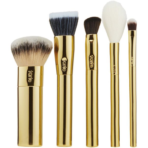 tarte Stroke Of Midnight Brush Set (170 RON) ❤ liked on Polyvore featuring beauty products, makeup, makeup tools, makeup brushes, set of brushes, tarte, tarte makeup brushes and set of makeup brushes