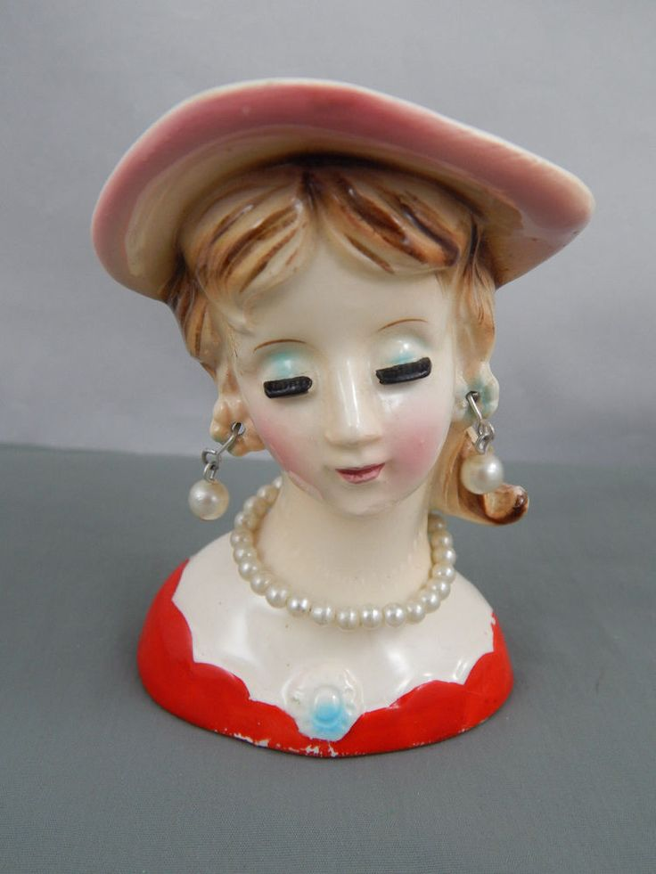 """Vintage Ceramic Lady Head Vase Pearl Necklace & Earrings Accents 3-1/2"""""""