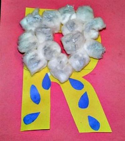 """Kindergarten learning the letter """"R"""" this week...isn't this the cutest!: Crafts Ideas, Letters Crafts, Alphabet Letters, Kids Crafts, Rain Crafts, Alphabet Crafts, Letters R Crafts, Rain Drop, Alphabet Art"""