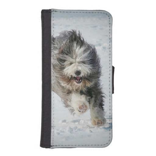 Bearded collie iPhone 5/5s Wallet Case. The case is made to fit your most essential belongings on the left side and your iPhone 5/5s on the right side.