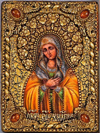 """Икона """"Образ Божией Матери """"Умиление"""" 14 х 19 см, роспись по дереву, самоцветы"""