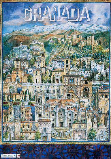 DP Vintage Posters - Granada Original Spanish Travel Poster City Scene