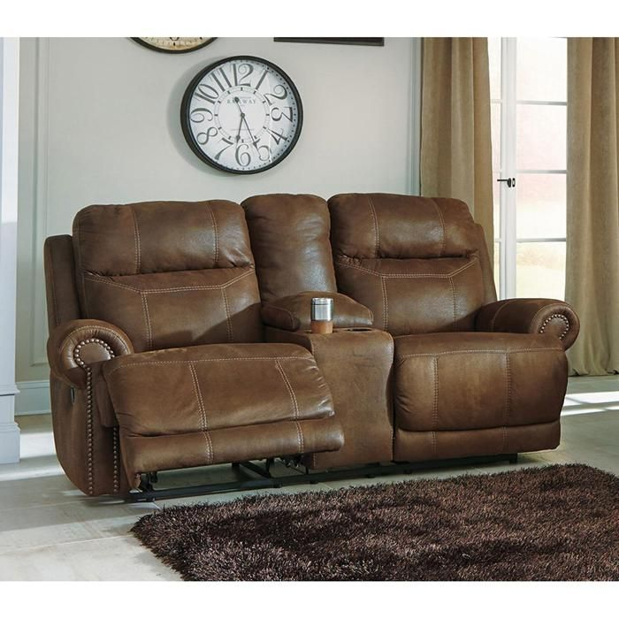 Austere Double Reclining Loveseat with Console in Brown | Nebraska Furniture Mart