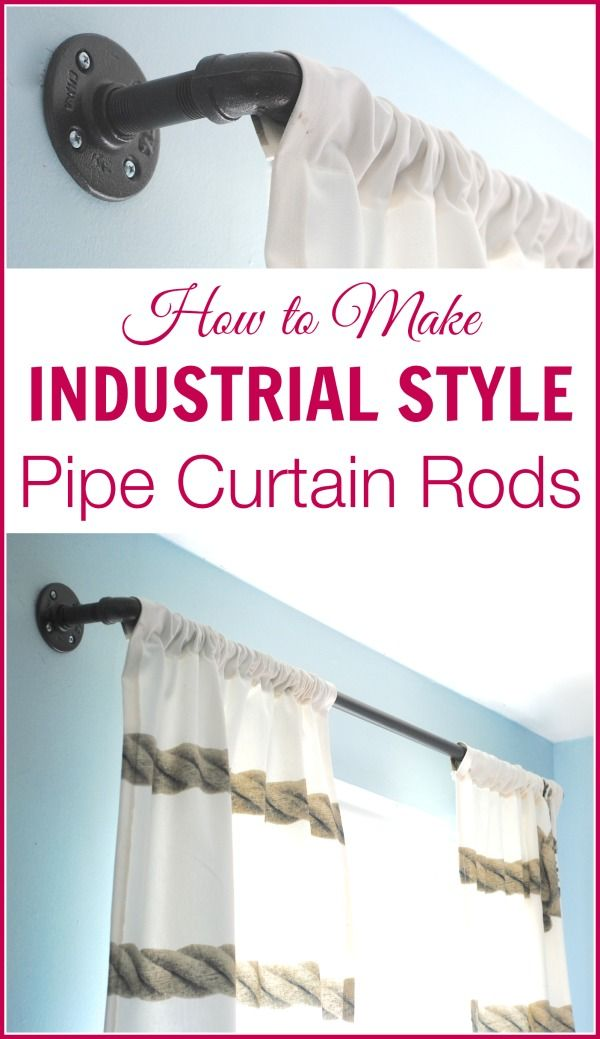 These DIY industrial style curtain rods are a cinch to make, and way cheaper (like $80 cheaper!) than the West Elm version. Get the tutorial at www.makinglemonadeblog.com! #DIY #windowtreatments #industrialstyle