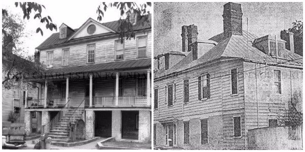 "Early dwellings in Radcliffeborough include the plantation style house at 64 Warren Street (ca 1816, right before rehabilitation in 1980) and the ""West Indian"" style house at 57 Radcliffe Street (ca 1817, left, late 1960s). Photos from the Historic Charleston Foundation."