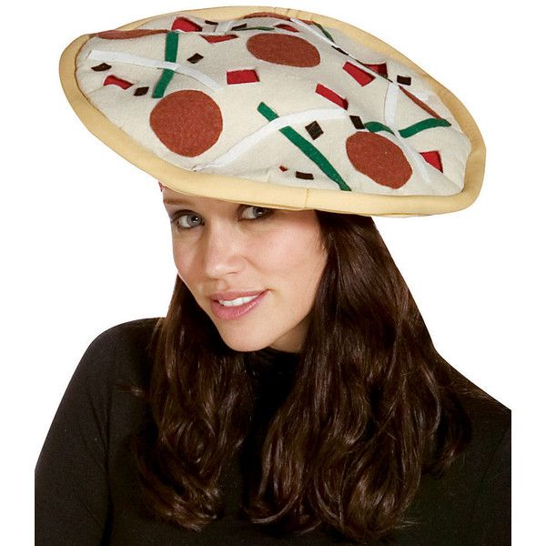 Rasta Imposta White Pizza Hat ($12) ❤ liked on Polyvore featuring accessories, hats, rasta imposta, white party hats, polyester hat, party hat and white hat