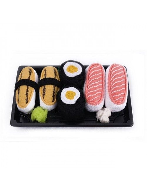 Sushi ponožky sú bavlnené ponožky balené ako skutočné sushi. Prekvapia originálnym dizajnom a vysokou kvalitou prevedenia. Nakupujte online na Ponozkozrut.sk