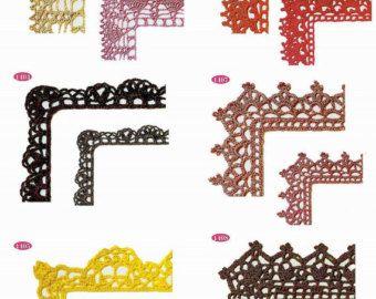 Gehäkelte Ecke trim Muster 12 Stück Spitze Kante sofortigen Download JPG