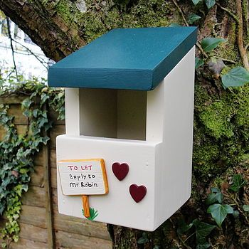 personalised handcrafted robin bird box by siop gardd | notonthehighstreet.com