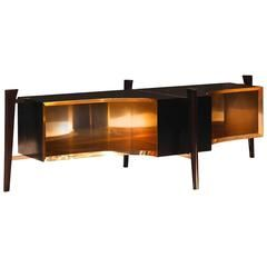 Mid-Century Inspired Wood Console with Brass Lined Interior and Inlay Detail