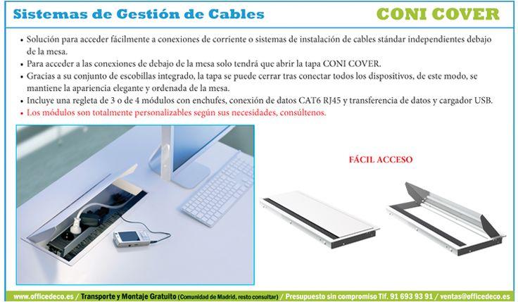 Coni Cover Sistemas de Gestión de Cables, solución para acceder fácilmente a conexiones de corriente o sistemas de instalación de cables estándar independientes debajo de la mesa.