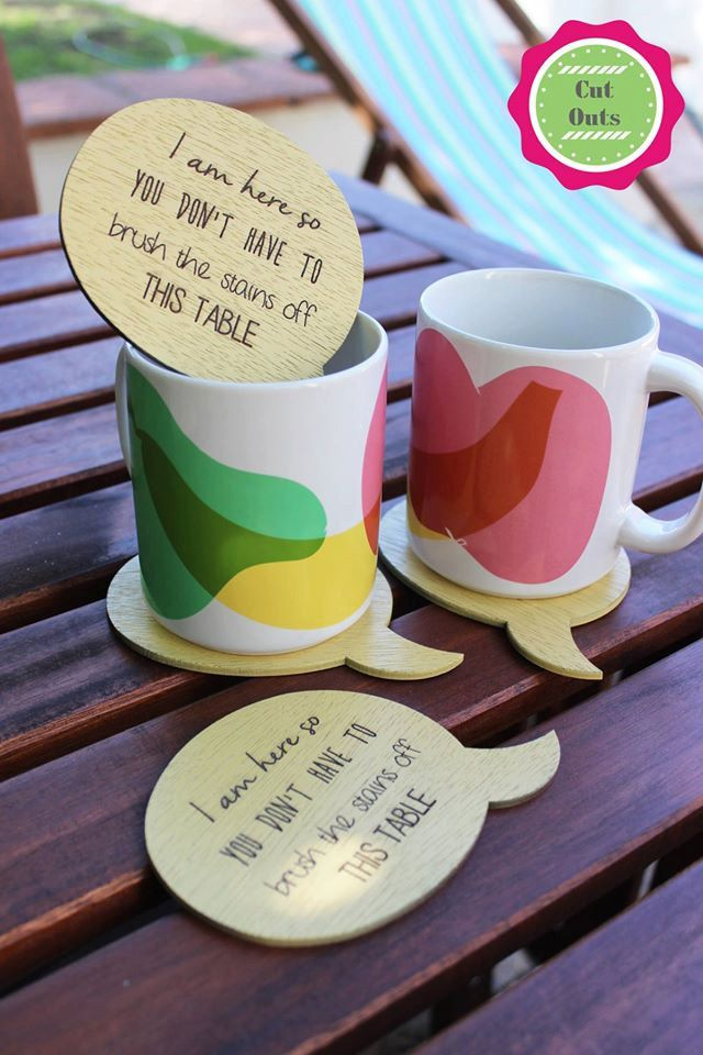 Set of 4 quirky, yellow coasters by CutOutsProductDesign on Etsy